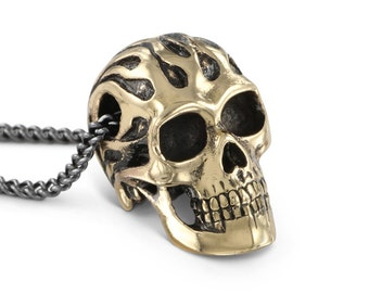 "Flaming Skull Necklace - Bronze Flaming Skull Pendant on 24"" Gunmetal Chain"