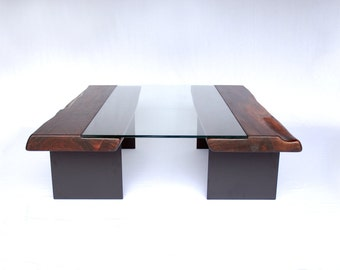 The Vale Coffee Table -- Walnut/Glass/Steel