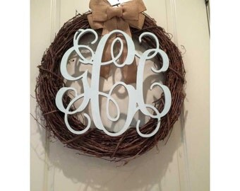 20 Inch Connected Vine Script Wood Monogram Letters - Perfect for hanging on a wall or added to a wreath and hanging on your front door.