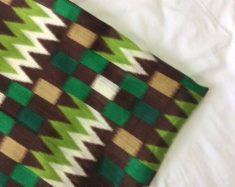 One  yard of printed silk dupioni blend in an unusual  aztec pattern with rectangles
