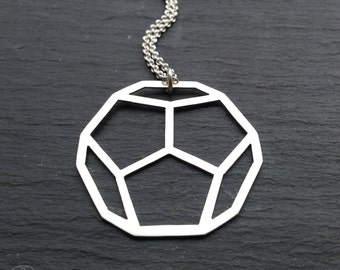 Large Platonic Solid Pendant - Dodecahedron -  Handcrafted sterling silver geometry
