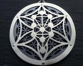 Kabbalah Flower of Life Pendant - sterling silver and oxidised sterling silver - Handcrafted Sacred Geometry Jewellery