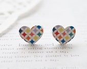 Wooden Colourful Diamonds and White Loveheart Stud Earrings