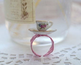 Pink Filigree With China Teacup Ring