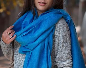100% Petrol Blue Pashmina Shawl Nepal