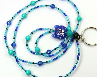 BLUE CAT - Beaded Cat Badge Holder, Cat Lanyard, Beaded Badge Holder