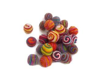 100% Wool felt balls pom pom handmade swirl felt balls 20mm bead arts and crafts