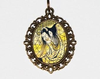 Samurai Demon Necklace, Japanese Woodblock Art, Samurai Jewelry, Ukiyo-e, Edo Period, Oval Pendant