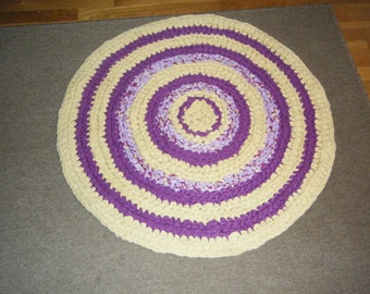 Handmade Crochet Purple and Yellow Rag Rug\\ Purple and Yellow Rag Rug