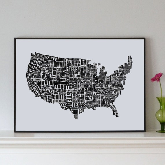 American Gastronomy map black // typographical print