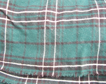 """Felted Wool Plaid Fabric Yardage 33"""" in Dark Green, Black and White"""