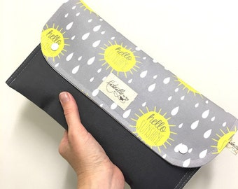 Baby Change Nappy/Diaper wallet. 'Hello Sunshine' #makeforgood. Fantastic baby shower gift.
