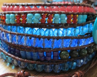 Wrap Around Blue Beaded Leather Bracelet