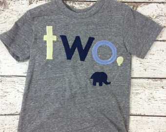 Ready to Ship second birthday shirt , two shirt, elephant shirt, zoo animal party, boy's birthday shirt, navy yellow grey
