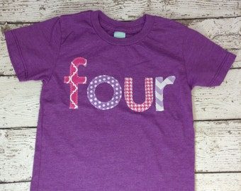 Ready to Ship four shirt, chevron, rainbow, pink and purple, girl's shirt, girl's clothing, birthday outfit, kid's clothes, polka dot
