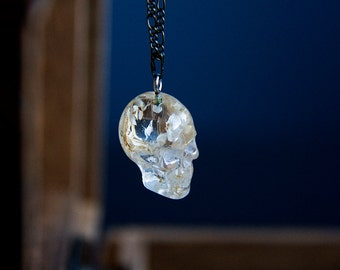 Medium Skull Necklace Transparent Floral Human Skull Pendant Flowers in Resin Gothic Halloween Necklace - N328