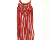 Orange T-shirt Yarn Macrame Knot Statement Necklace