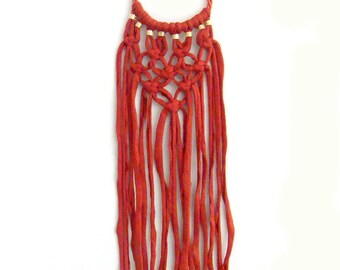 Macrame Bib Necklace, Orange T-shirt Yarn Macrame Knot Statement Necklace, Rope Necklace