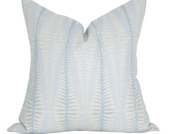 Fern pillow cover in Wave on Natural Linen