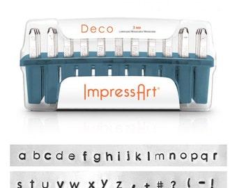 ImpressArt 3mm Lowercase DECO Font, Hand Stamp Alphabet Letters with Bonus Stamps! Metal Stamping Font, Script Font.