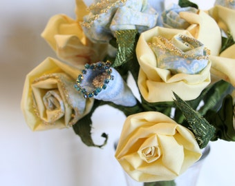 Handmade Everlasting Fiber Art Fabric Flower Bouquet, Blue and Yellow Bouquet, Soft Sculpture Wedding Bouquet Bridal or Gift, Centerpiece