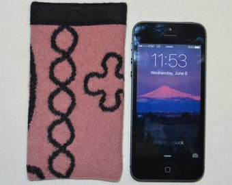 SALE Pink & Black Wool Native American fabric - SE 5 5s iPhone sleeve cover case - electronics cases - iPhone Wallet