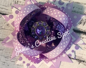 Lavender & White Over The Top Bow