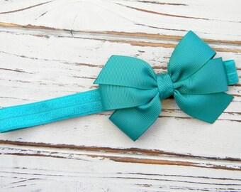 Teal Bow Headband - Newborn Bow Headband - Baby Bow Headband - Jade Bow Headband