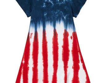 Girl's Tie Dye 4th of July Flag Cap Sleeve A-line