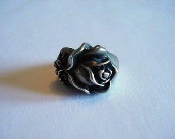 Vintage Pewter Ring, Detailed Rose Design, Size 7.75, Truly Unique!
