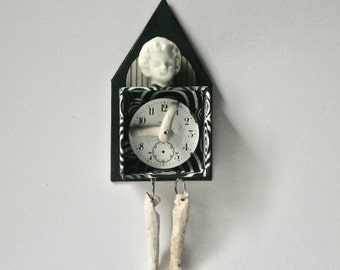 Doll House Mixed Media Art Doll with Vintage Doll Parts and Watch Face for Decor