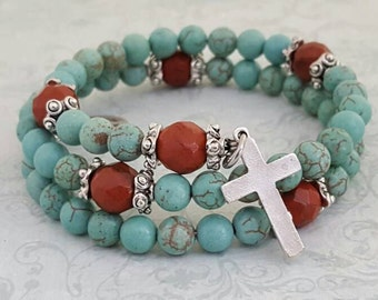 Rosary Bracelet, Turquoise, Red Jasper, Miraculous Medal, Strong Stainless Steel, Five Decade, Memory Wire, Handcrafted, Wrapped Rosary