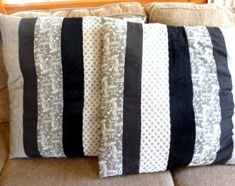 Set of 2 Black and Gray Pillow Covers 24""