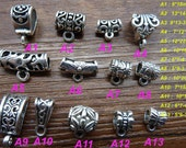 20pcs 9*18mm  Antique Silver Bail Bead Spacers ,Hanging head charm body connector link claws clasps  spaced Bead Charm Pendant