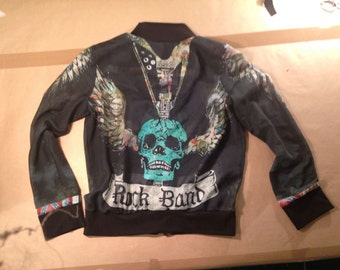 cotton silk blend rock band bomber. light weight