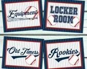 Baseball Party Signs. 8x10 Party signs. Baseball Party Decorations. Welcome Sign. Hot Dog Bar. Nacho Bar. Locker Room. Equipment. Rookies