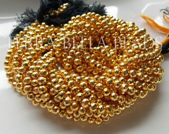 """13"""" strand gold coated PYRITE faceted gem stone round beads 4.5mm - 5mm"""