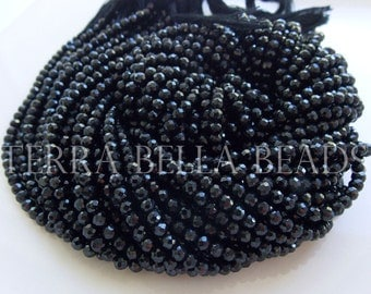 "Full 13"" strand black SPINEL faceted ROUND gem stone beads 3.5mm"