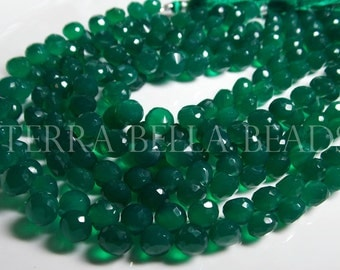 """4"""" half strand GREEN ONYX faceted gem stone onion briolette beads 7.5mm - 8mm"""