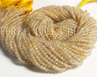"13"" full strand gold RUTILATED QUARTZ faceted gem stone rondelle beads 2.5mm - 3mm"