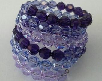 Purple Swarovski Crystal Memory Wire Bracelet