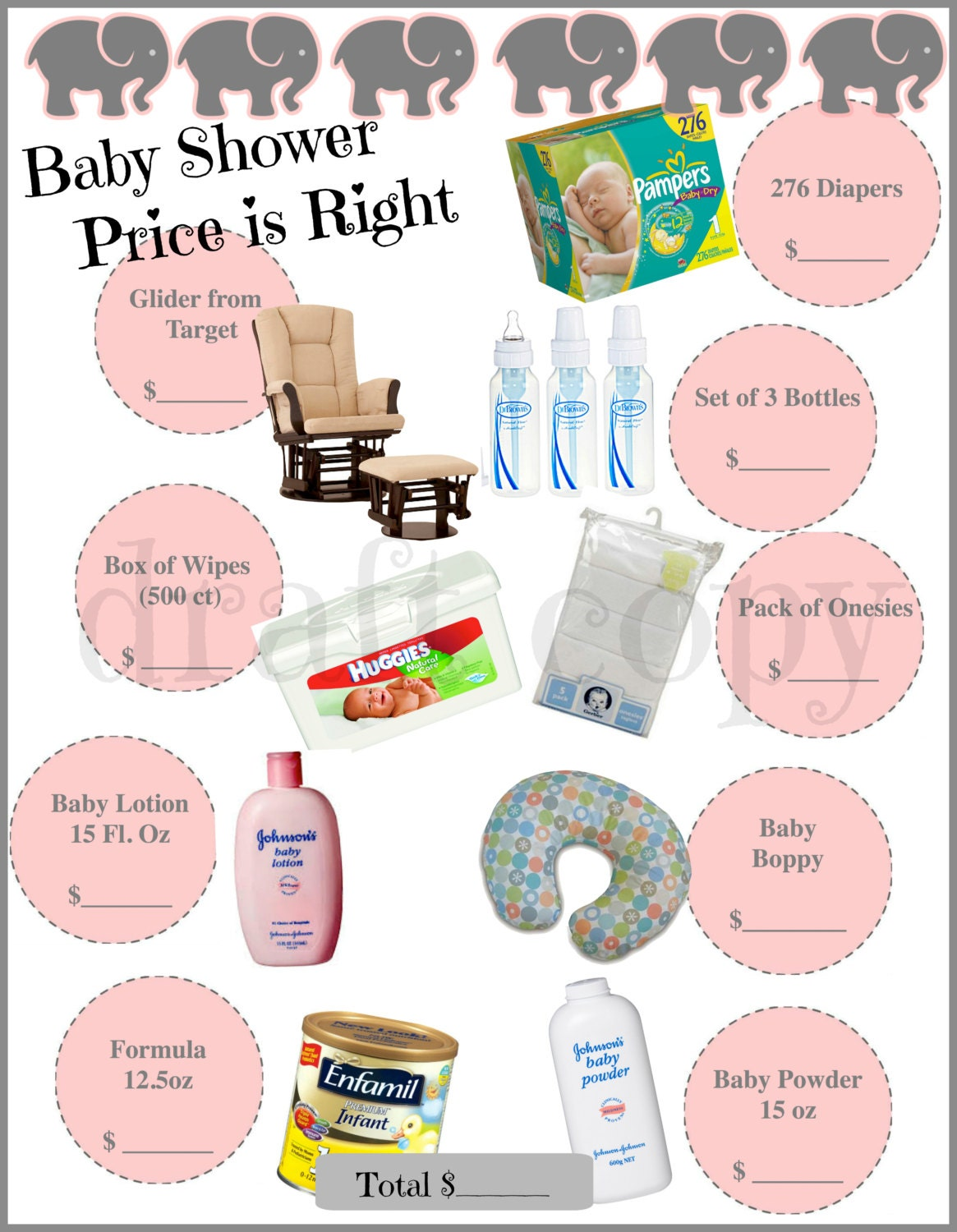 baby shower game price is right instant by 31flavorsofdesign