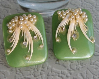 Vintage Green Plastic Clip Earrings with Rhinestone & Faux Pearl Design