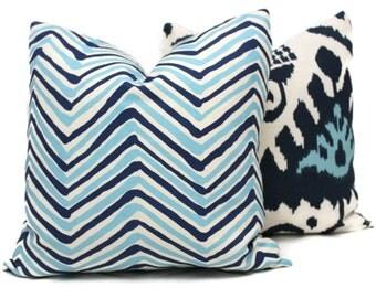 Two Tone Blue Zig Zag Quadrille Pillow Cover 18x18, 20x20, 22x22, Eurosham or Lumbar pillow Accent Pillow, Throw Pillow, Toss, China Seas