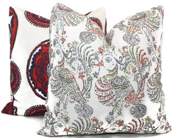Decorative Pillow Cover Ruwa Bird Block Print Square, Eurosham or Lumbar Pillow Cover, Toss Pillow made with Duralee John Robshaw fabric