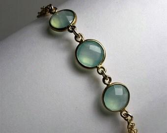 Minimalist Bracelet - Mint Chalcedony and 14K Gold Filled