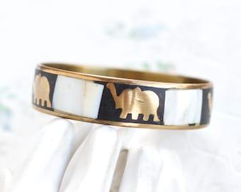 Lucky Elephants Bangle - Mother of Pearl and Brass Bracelet