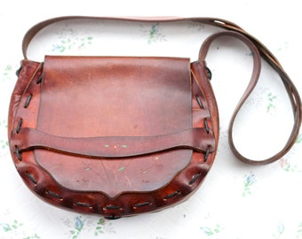 Classic Leather Satchel - 70s Handbag - seventies shoulder Bag