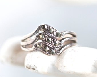 Art Deco Ring - Marcasite Waves - Antique Sterling Silver Ring Size 7.5 - Dark Silver