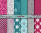 Digital Snowflakes Paper Winter Pattern Background Printable - 12 designs - 300 dpi - jpg - SNOWFLAKES